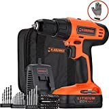 Händewerk 20V Lithium-Ion Cordless Variable Speed Drill Driver Combo Kit 32pcs Bits 1 Connecting and 20pcs HSS Metal Masonry Wood Bits Battery Quick Charger Gloves and Contractor Bag Included