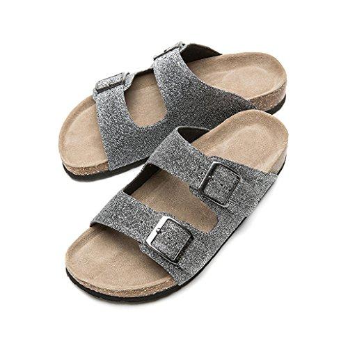 Plata de Waichuan LIUXUEPIN con moda La de de Color de planas dos Zapatillas verano dama Tamaño 36 pinzas corcho wgRtaq4Og