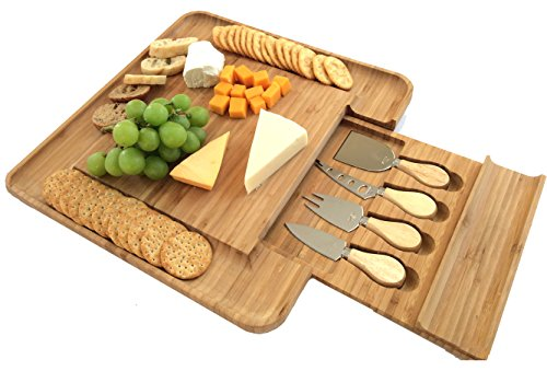 Bamboo Cheese Board with Cutlery Set | Wooden Platter with Slide-out Drawer and 4 Piece Stainless Steel Serving Set | Great Housewarming or Wedding Gift Idea | Premium New Design BPA Free by SANS Elegant Living