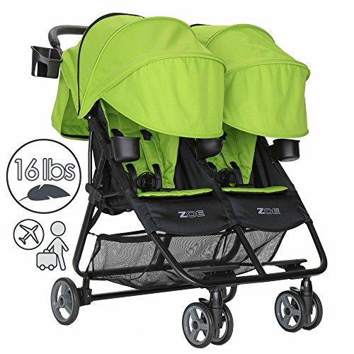 ZOE Umbrella XL2 Double Stroller, DELUXE - Lime Green by Zoe