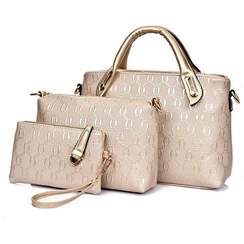 Blue Sunshine Lady Alligator Pattern Three-piece Fashion Handbag(gold)