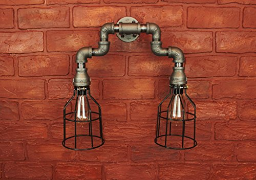 Wall sconce industrial lighting w cages black pipe for Black pipe light fixture