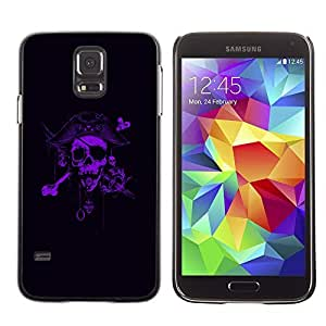 Colorful Printed Hard Protective Back Case Cover Shell Skin for SAMSUNG Galaxy S5 V / i9600 / SM-G900F / SM-G900M / SM-G900A / SM-G900T / SM-G900W8 ( Pirate Purple Black Scary Captain )