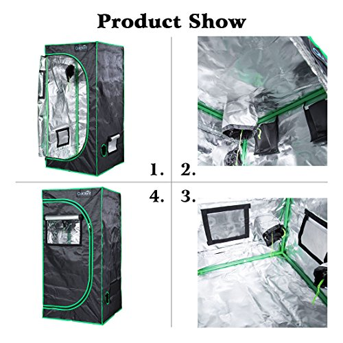 """51LmomubKtL - Quictent SGS Approved Eco-friendly 24""""x24""""x48"""" Reflective Mylar Hydroponic Grow Tent with Obeservation Window and waterproof Floor Tray for Indoor Plant Growing 2'x2'"""