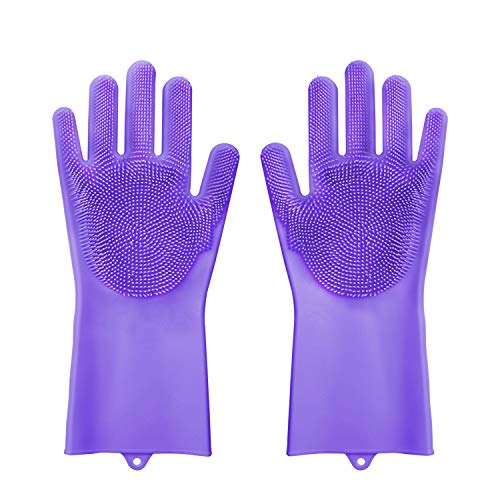 Magic Silicone Gloves with Wash Scrubber Rubber Cleaning Gloves-Reusable Brush Heat Resistant Gloves Kitchen Tool for Cleaning, Dish Washing, Washing The Car, Pet Hair Care (Purple)