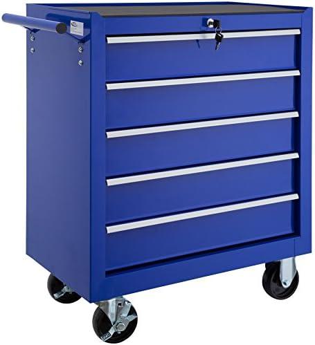 TecTake Werkzeugwagen mit 5 Schubfächer   Abschließbar   Mobiler Werkstattwagen - diverse Farben - (Blau   Nr. 402798)