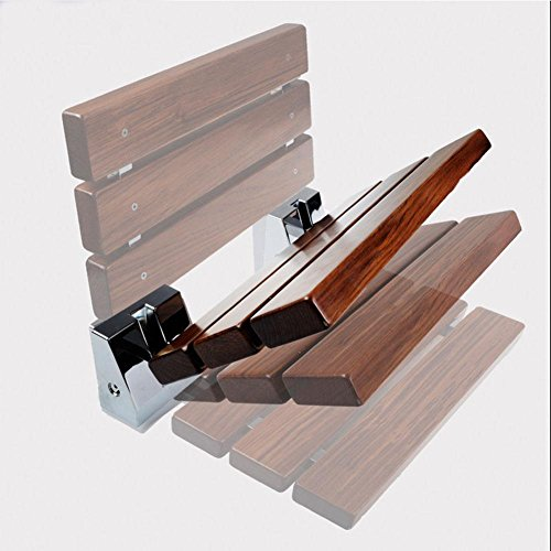 TSAR003 Luxury Version Teak Bathroom Folding Shower Seat Wall Mounted,Specifically For The Elderly /Pregnant Women/Disabled People,34Cm40Cm,330 Lb Load by TSAR003