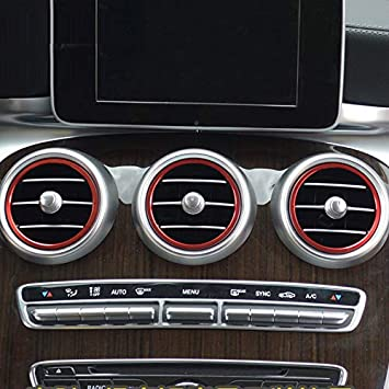 Für C Klasse Limousine W205 2014 2019 Glc X253 2015 2019 Interieur A C Gitter Dekor Metall Rot Auto