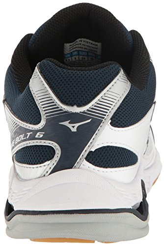 Mizuno Wave Bolt 6 Womens Volleyball Shoes, White/Navy 6.5 B US