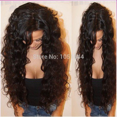 Virgin Brazilian Hair Human Hair Wigs Curly Front Lace Wig & Glueless Full Lace Wigs for Black Women (16inch front lace wig)