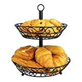 Famtasme 2 Tier Countertop Fruit Basket Stand Vegetable Rack Fruit Stand Kitchen Organizer for Storage