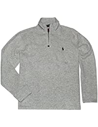 Men's French Rib Knit Half Zip Pullover Sweater