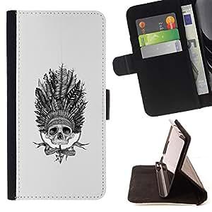 BullDog Case - FOR/Apple Iphone 5 / 5S / - / INDIAN CHIEF HEADGEAR FEATHERS NATIVE /- Monedero de cuero de la PU Llevar cubierta de la caja con el ID Credit Card Slots Flip funda de cuer