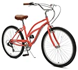 Critical Cycles Chatham-7 Women's  Beach Cruiser Bike Seven-Speed, Coral