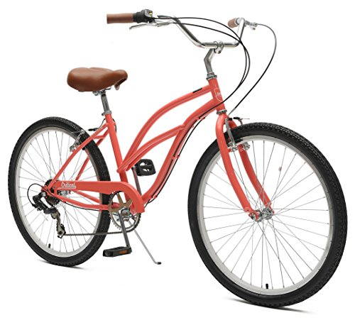 Critical Cycles Chatham-7 Women's  Beach Cruiser Bike Seven-Speed, Coral Ladies Beach Cruiser Bike