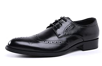 026aa65814e Dilize Men s Smart Leather Formal Business Office Brogue Shoes 39 EU Black
