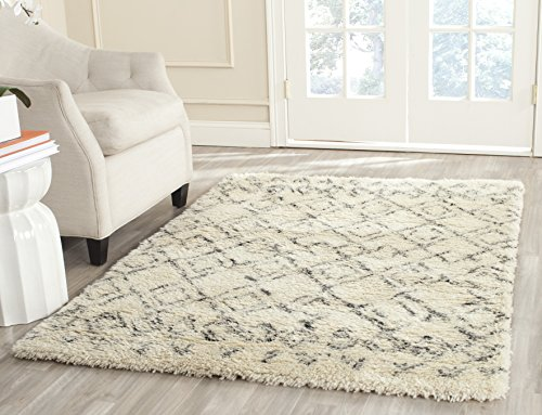 Safavieh Casablanca Shag Collection CSB845A Handmade Ivory and Grey Premium Wool & Cotton Area Rug (8' x 10') Hand Woven Wool Shag Rug