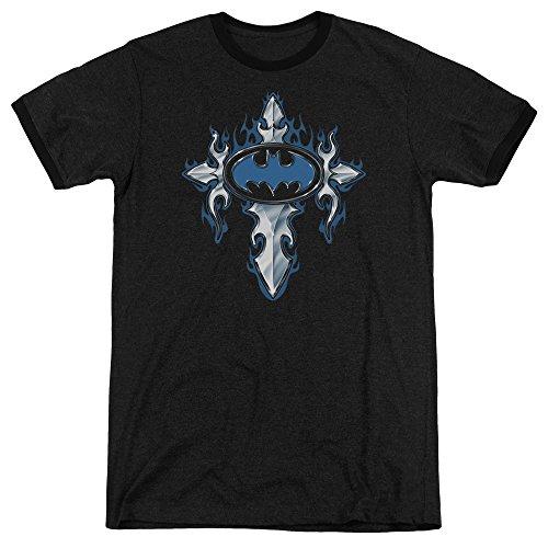(Batman Gothic Steel Logo Unisex Adult Ringer T Shirt for Men and Women, Medium)