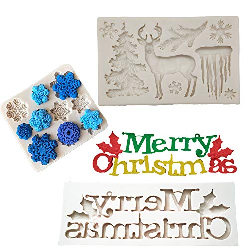 Wootkey Set of 3 Christmas Theme Merry Christmas Reindeer Snowflake Fondant Silicone Mold for Sugarcraft, Cake Border Decoration, Cupcake Topper, Polymer Clay, Crafting Moulds ()