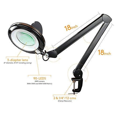 Brightech Light View PRO LED Magnifying Clamp Lamp - Daylight Bright Magnifier Lighted Lens – Dimmable with Adjustable Color Temperature Utility Light for Desk Table Task Craft or Workbench –black by Brightech (Image #9)