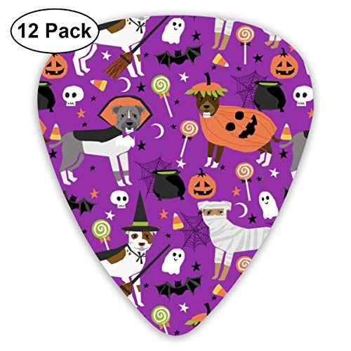 Pitbull Halloween Costume Dog - Cute Dogs In Costume Halloween Design Candy Corn, Candy, Funny Pet- Purple Classic Celluloid Picks, 12-Pack, For Electric Guitar, Acoustic Guitar, Mandolin, And Bass ()