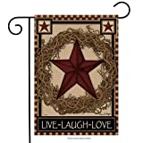 Country Primitive Barn Star Wreath Live Laugh Love Double Sided Garden Flag