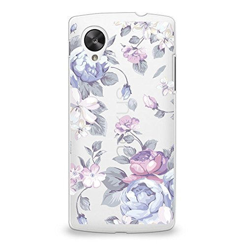 CasesByLorraine Hard Plastic Case for Nexus 5, Purple Floral Flower Matte PC Case Transparent Plastic Cover for Google Nexus 5 (I33) (Nexus 5 Phone Case Purple)