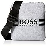BOSS Green Men's Pixel Jersey Zip Reporter Bag, Medium Grey