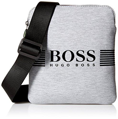 BOSS Green Men's Pixel Jersey Zip Reporter Bag, Medium Grey by Hugo Boss