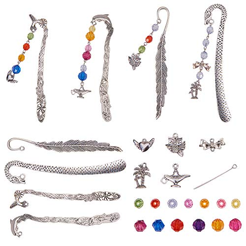 SUNNYCLUE 1 Set Metal Bookmarks Making Kit - DIY 4pcs Hooks Bookmark with A String of Colorful Beads, Dolphin, Leaf, Dragon, Bird