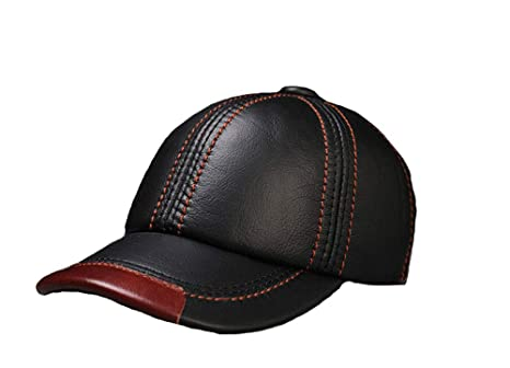 8d08bff9a6b XSQR Genuine Leather Hat Men Cowhide Autumn and Winter Leisure Outdoor Keep Warm  Middle-Aged