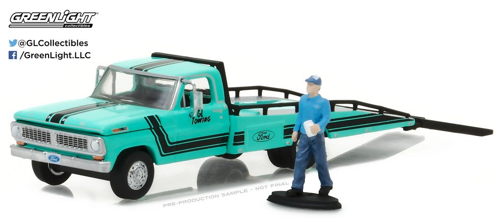 Greenlight 29892 1970 Ford F 350 Ramp Truck with Truck Driver Figure Hobby Exclusive 1 64 Diecast Model Car