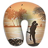 SARA NELL Memory Foam Neck Pillow Hawaii Man Embraces Woman U-Shape Travel Pillow Ergonomic Contoured Design Washable Cover For Airplane Train Car Bus Office