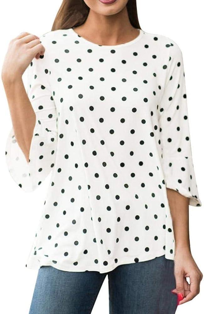 Mujer Verano Mangas 3/4 Modernas Casual Moda Camisetas Elegante Ocasional Hipster Hipster Camisas Lunares Cuello Redondo Estilo Moderno Moda Joven Blusas Tops (Color : Blanco, Size : S): Amazon.es: Ropa y accesorios