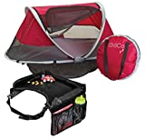 KidCo PeaPod Travel Bed, Cranberry with Snack & Play Travel Tray