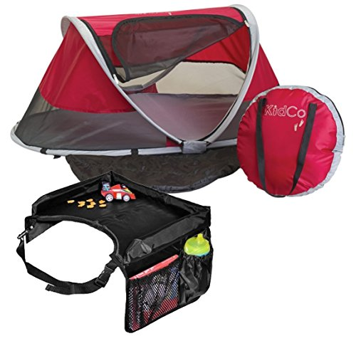 KidCo PeaPod Travel Bed, Cranberry with Snack & Play Trav...