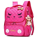 Ali Victory Waterproof Princess School Backpacks for Girls Cute Kids Book Bag Travel Daypack (Watermelon Red Cat, Small)