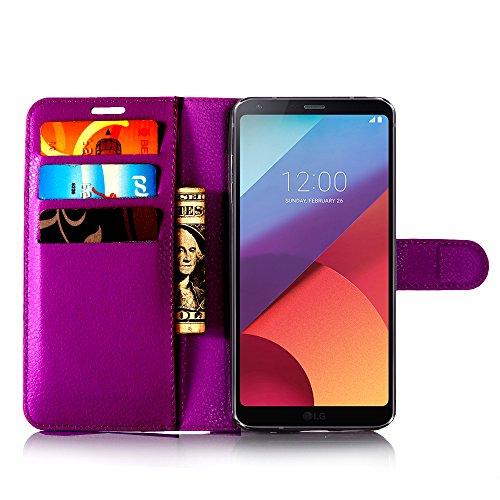 Funda LG G6, Funda LG G6, iPro Accessories® LG G6 Cartera Funda, LG G6 (2017) Funda Cartera Estilo Libro Durable PU Cuero Cartera Elegante Clásica Flip Cover Case - Lg G6 (Libro), {A prueba de golpes) morado
