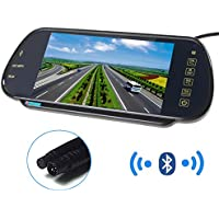PONPY 7 16:9 HD USB Bluetooth MP5 FM SD TFT LCD Color Screen Car Rear View Mirror Monitor for Car Camera/DVD/VCD/STB/Satellite Receiver