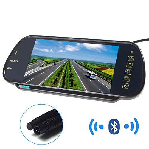 Cheap PONPY 7″ 16:9 HD USB Bluetooth MP5 FM SD TFT LCD Color Screen Car Rear View Mirror Monitor for Car Camera/DVD/VCD/STB/Satellite Receiver