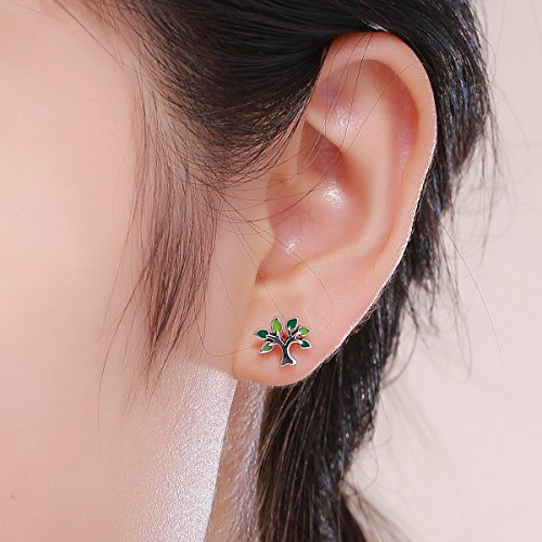 BISAER Tree of Life 925 Sterling Silver Stud Earrings with Green Enamel Leaves, Cute Post Stud Earring Hypoallergenic Jewelry for Women. by BISAER (Image #5)'