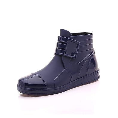 Qianliuk Herren Gummistiefel PVC Wasserdicht Flache Schuhe