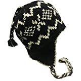 Nepal Hand Knit Sherpa Hat with Ear Flaps, Trapper Ski Heavy Wool Fleeced Lined Cap (Peace Black)