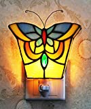 Makenier Tiffany Style Stained Glass Butterfly Small Wall Lamp Night Light