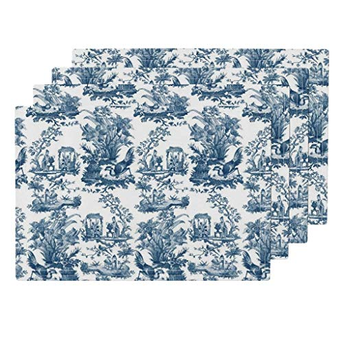 Roostery Chinoiserie Toile 4pc Linen Cotton Canvas Cloth Placemat Set - Antique Bird Floral Antique Toile Lonely Angel Chinese Floral Home Decor by Peacoquettedesigns (Set of 4) 13 x 19in