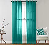 Teal Curtains HLC.ME 2 Piece Sheer Window Curtain Grommet Panels (Aqua Blue (Teal)) 54