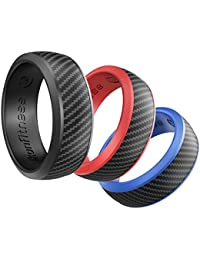 Silicone Wedding Ring for Men and Women - 3 Pack Comfortable Fit, Skin Safe, Non-toxic, Antibacterial Rubber Wedding Ring by Ikonfittness - Black, Blue, Red - Come with a Metal Box