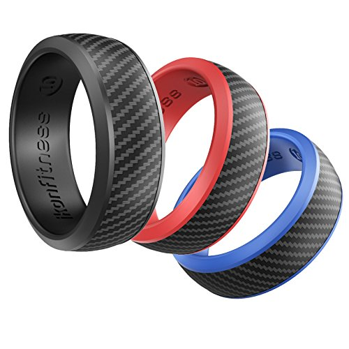 Ikonfitness Silicone Wedding Ring for Men - 3 Pack Comfortable Fit, Skin Safe, Non-Toxic, Antibacterial Rubber Wedding Ring Black, Blue, Red - Come with a Gift Box (6) ()