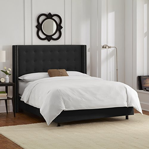 Skyline Furniture Nail Button Tufted Wingback Queen Bed in Velvet Black - Queen Wing