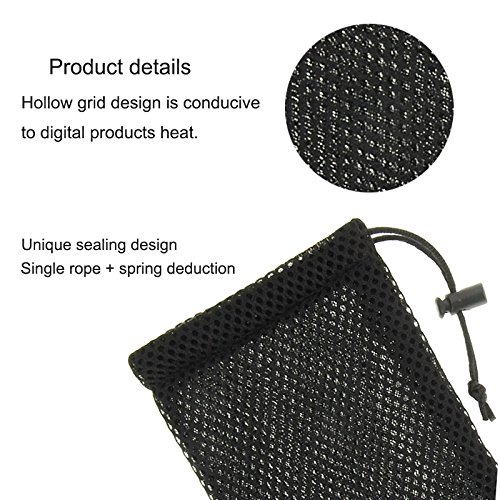 "DFV mobile - Universal Nylon Mesh Pouch Bag with Chain and Loop Closure for =>      APPLE IPHONE 6S PLUS [5,5""] > Black"